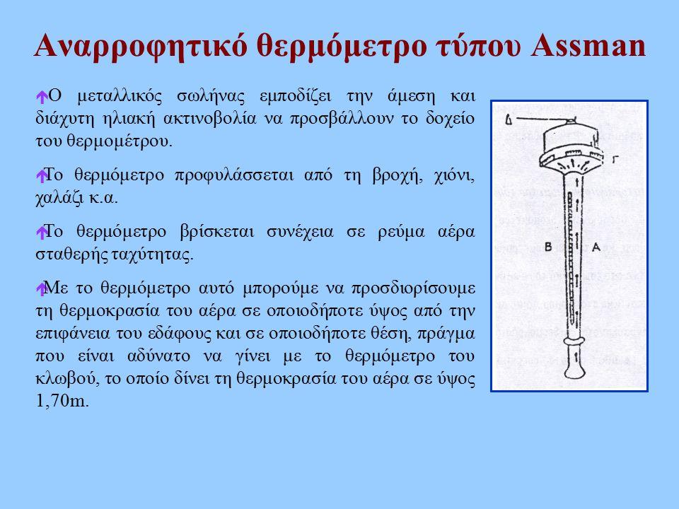 Αναρροφητικό θερμόμετρο τύπου Assman  Ο μεταλλικός σωλήνας εμποδίζει την άμεση και διάχυτη ηλιακή ακτινοβολία να προσβάλλουν το δοχείο του θερμομέτρο