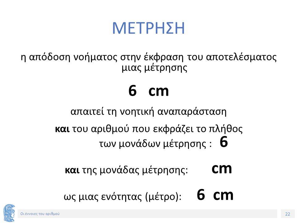 22 Οι έννοιες του αριθμού ΜΕΤΡΗΣΗ η απόδοση νοήματος στην έκφραση του αποτελέσματος μιας μέτρησης 6 cm απαιτεί τη νοητική αναπαράσταση και του αριθμού που εκφράζει το πλήθος των μονάδων μέτρησης : 6 και της μονάδας μέτρησης: cm ως μιας ενότητας (μέτρο): 6 cm