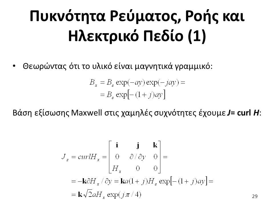 Πυκνότητα Ρεύματος, Ροής και Ηλεκτρικό Πεδίο (1) Θεωρώντας ότι το υλικό είναι μαγνητικά γραμμικό: Βάση εξίσωσης Maxwell στις χαμηλές συχνότητες έχουμε J= curl H: 29