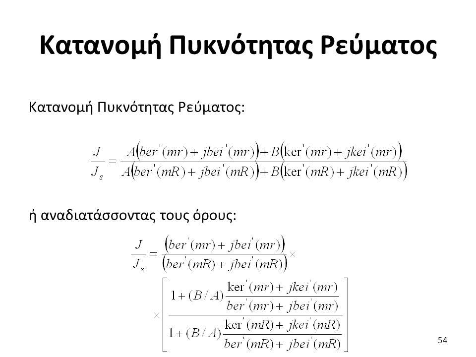 Κατανομή Πυκνότητας Ρεύματος Κατανομή Πυκνότητας Ρεύματος: ή αναδιατάσσοντας τους όρους: 54