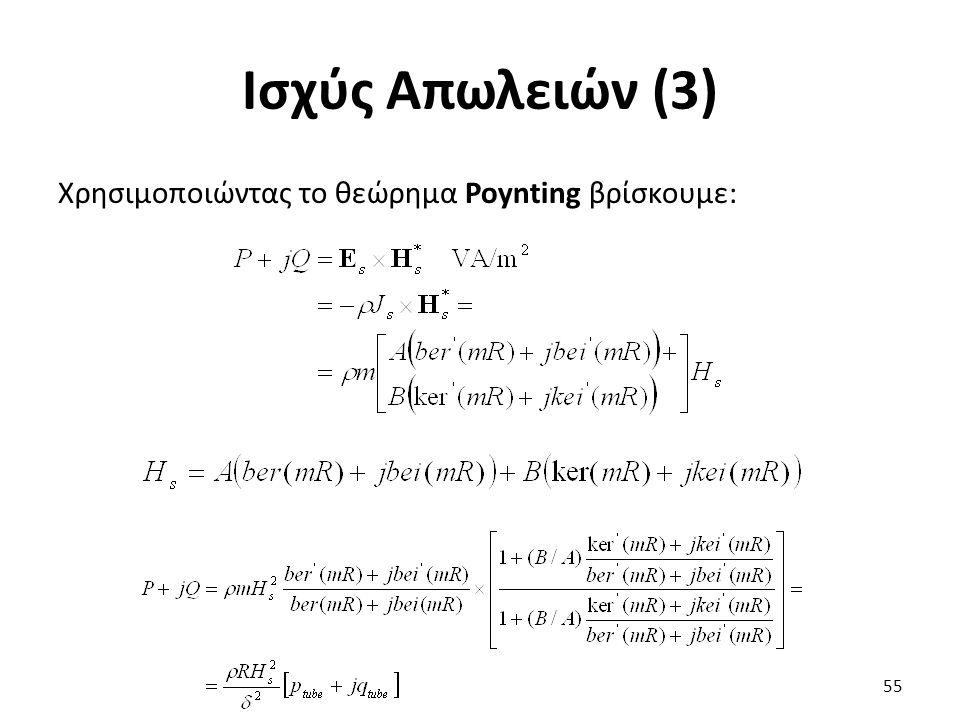Ισχύς Απωλειών (3) Χρησιμοποιώντας το θεώρημα Poynting βρίσκουμε: 55
