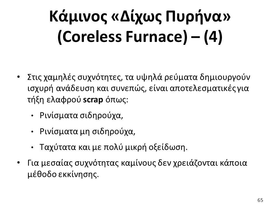 Κάμινος «Δίχως Πυρήνα» (Coreless Furnace) – (4) Στις χαμηλές συχνότητες, τα υψηλά ρεύματα δημιουργούν ισχυρή ανάδευση και συνεπώς, είναι αποτελεσματικές για τήξη ελαφρού scrap όπως: Ρινίσματα σιδηρούχα, Ρινίσματα μη σιδηρούχα, Ταχύτατα και με πολύ μικρή οξείδωση.