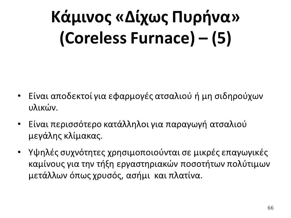 Κάμινος «Δίχως Πυρήνα» (Coreless Furnace) – (5) Είναι αποδεκτοί για εφαρμογές ατσαλιού ή μη σιδηρούχων υλικών.