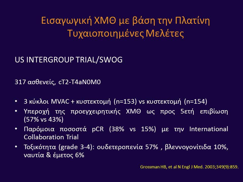 US INTERGROUP TRIAL/SWOG 317 ασθενείς, cT2-T4aN0M0 3 κύκλοι MVAC + κυστεκτομή (n=153) vs κυστεκτομή (n=154) Υπεροχή της προεγχειρητικής ΧΜΘ ως προς 5ετή επιβίωση (57% vs 43%) Παρόμοια ποσοστά pCR (38% vs 15%) με την International Collaboration Trial Τοξικότητα (grade 3-4): ουδετεροπενία 57%, βλεννογονίτιδα 10%, ναυτία & έμετος 6% Εισαγωγική ΧΜΘ με βάση την Πλατίνη Τυχαιοποιημένες Μελέτες Grossman HB, et al N Engl J Med.