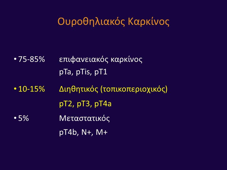 Ουροθηλιακός Καρκίνος 75-85%επιφανειακός καρκίνος pTa, pTis, pT1 10-15%Διηθητικός (τοπικοπεριοχικός) pT2, pT3, pT4a 5%Μεταστατικός pT4b, N+, M+