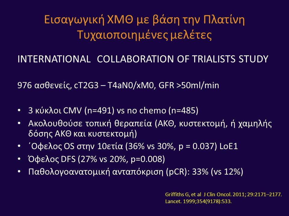INTERNATIONAL COLLABORATION OF TRIALISTS STUDY 976 ασθενείς, cT2G3 – T4aN0/xM0, GFR >50ml/min 3 κύκλοι CMV (n=491) vs no chemo (n=485) Ακολουθούσε τοπική θεραπεία (ΑΚΘ, κυστεκτομή, ή χαμηλής δόσης ΑΚΘ και κυστεκτομή) ΄Οφελος OS στην 10ετία (36% vs 30%, p = 0.037) LoE1 Όφελος DFS (27% vs 20%, p=0.008) Παθολογοανατομική ανταπόκριση (pCR): 33% (vs 12%) Εισαγωγική ΧΜΘ με βάση την Πλατίνη Τυχαιοποιημένες μελέτες Griffiths G, et al J Clin Oncol.