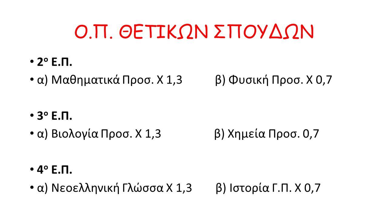 Ο.Π. ΑΝΘΡΩΠΙΣΤΙΚΩΝ ΣΠΟΥΔΩΝ 1 ο Ε.Π. α) Αρχαία Προσ.
