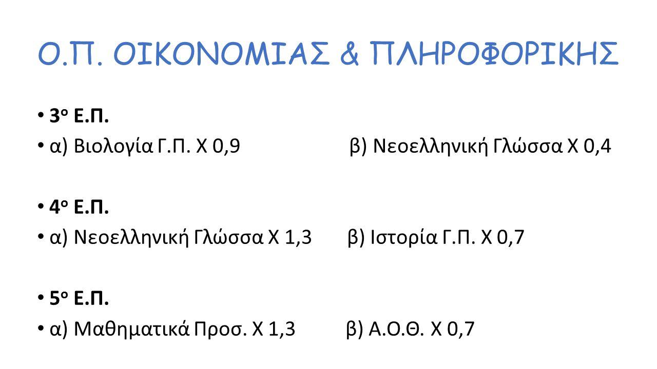 Ο.Π. ΘΕΤΙΚΩΝ ΣΠΟΥΔΩΝ 2 ο Ε.Π. α) Μαθηματικά Προσ.
