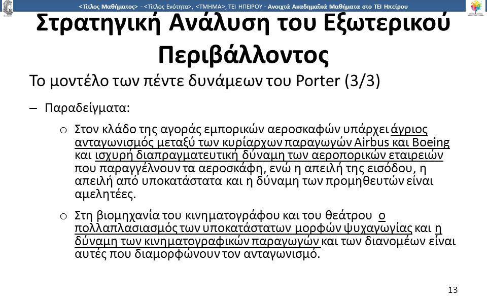 1313 -,, ΤΕΙ ΗΠΕΙΡΟΥ - Ανοιχτά Ακαδημαϊκά Μαθήματα στο ΤΕΙ Ηπείρου Στρατηγική Ανάλυση του Εξωτερικού Περιβάλλοντος Το μοντέλο των πέντε δυνάμεων του Porter (3/3) – Παραδείγματα: o Στον κλάδο της αγοράς εμπορικών αεροσκαφών υπάρχει άγριος ανταγωνισμός μεταξύ των κυρίαρχων παραγωγών Airbus και Boeing και ισχυρή διαπραγματευτική δύναμη των αεροπορικών εταιρειών που παραγγέλνουν τα αεροσκάφη, ενώ η απειλή της εισόδου, η απειλή από υποκατάστατα και η δύναμη των προμηθευτών είναι αμελητέες.