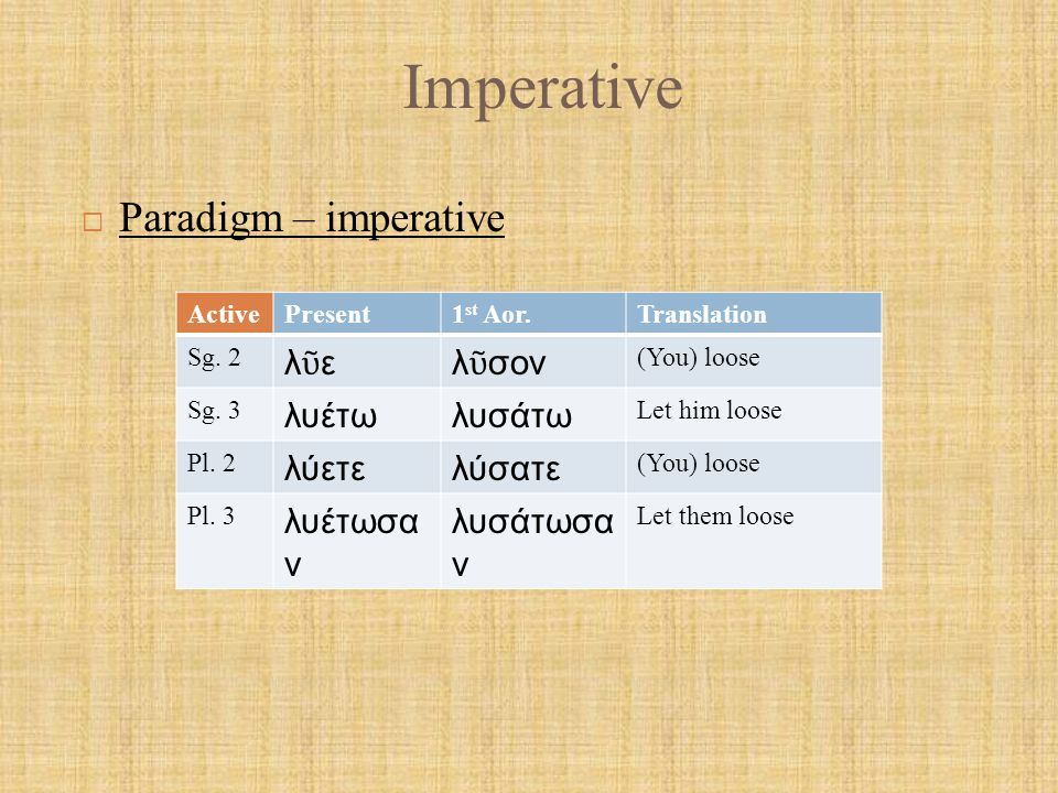 Imperative Mid.Present1 st Aor.Translation Sg.2 λύου λ ῦ σαι You loose for yourself Sg.