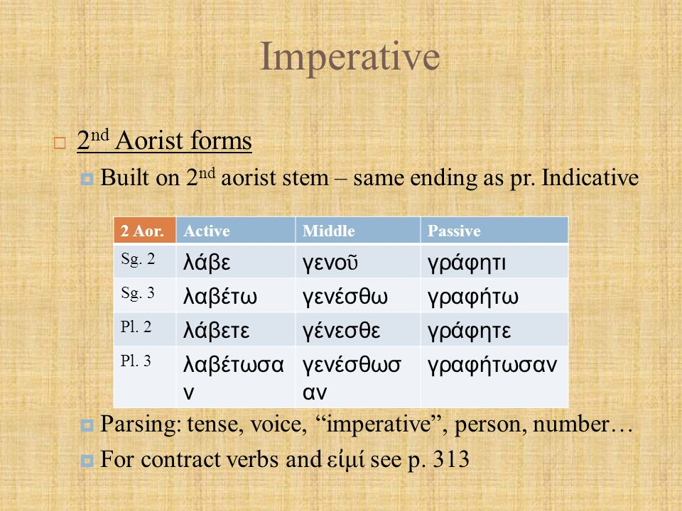 Imperative  2 nd Aorist forms  Built on 2 nd aorist stem – same ending as pr.