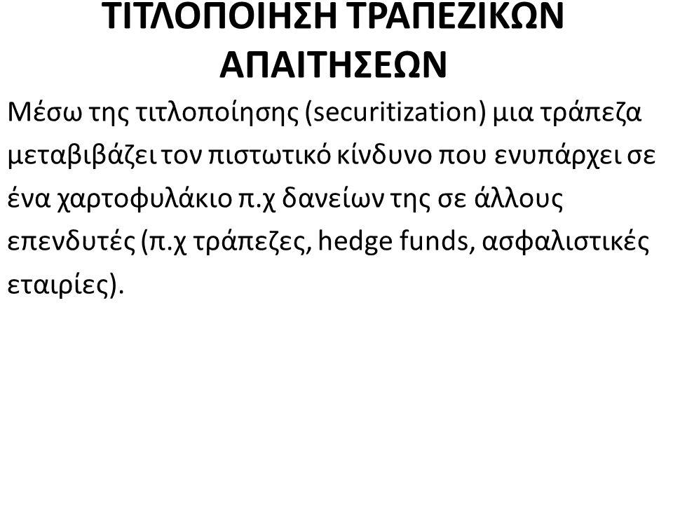 ΤΙΤΛΟΠΟΙΗΣΗ ΤΡΑΠΕΖΙΚΩΝ ΑΠΑΙΤΗΣΕΩΝ Μέσω της τιτλοποίησης (securitization) μια τράπεζα μεταβιβάζει τον πιστωτικό κίνδυνο που ενυπάρχει σε ένα χαρτοφυλάκιο π.χ δανείων της σε άλλους επενδυτές (π.χ τράπεζες, hedge funds, ασφαλιστικές εταιρίες).