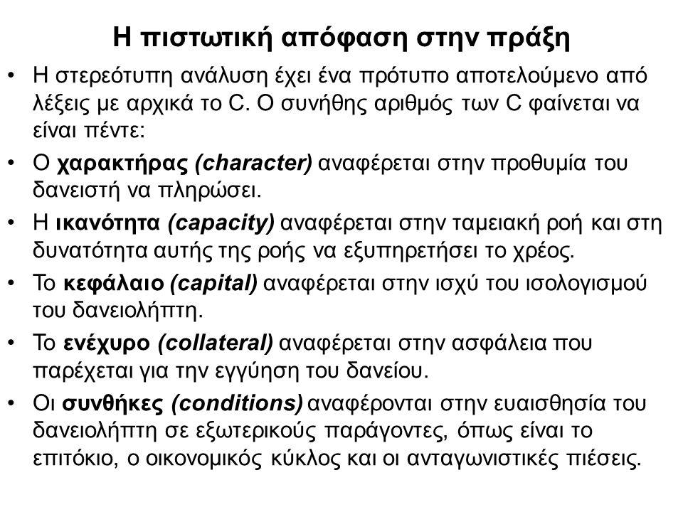 Η πιστωτική απόφαση στην πράξη Η στερεότυπη ανάλυση έχει ένα πρότυπο αποτελούμενο από λέξεις με αρχικά το C.