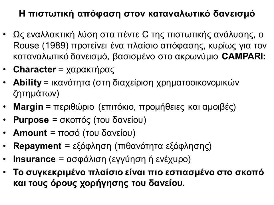 Η πιστωτική απόφαση στον καταναλωτικό δανεισμό Ως εναλλακτική λύση στα πέντε C της πιστωτικής ανάλυσης, ο Rouse (1989) προτείνει ένα πλαίσιο απόφασης, κυρίως για τον καταναλωτικό δανεισμό, βασισμένο στο ακρωνύμιο CAMPARI: Character = χαρακτήρας Ability = ικανότητα (στη διαχείριση χρηματοοικονομικών ζητημάτων) Margin = περιθώριο (επιτόκιο, προμήθειες και αμοιβές) Purpose = σκοπός (του δανείου) Amount = ποσό (του δανείου) Repayment = εξόφληση (πιθανότητα εξόφλησης) Insurance = ασφάλιση (εγγύηση ή ενέχυρο) Το συγκεκριμένο πλαίσιο είναι πιο εστιασμένο στο σκοπό και τους όρους χορήγησης του δανείου.