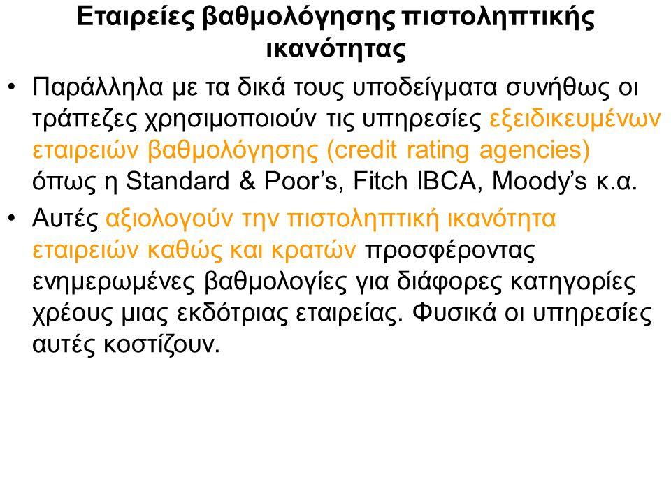 Εταιρείες βαθμολόγησης πιστοληπτικής ικανότητας Παράλληλα με τα δικά τους υποδείγματα συνήθως οι τράπεζες χρησιμοποιούν τις υπηρεσίες εξειδικευμένων εταιρειών βαθμολόγησης (credit rating agencies) όπως η Standard & Poor's, Fitch IBCA, Moody's κ.α.