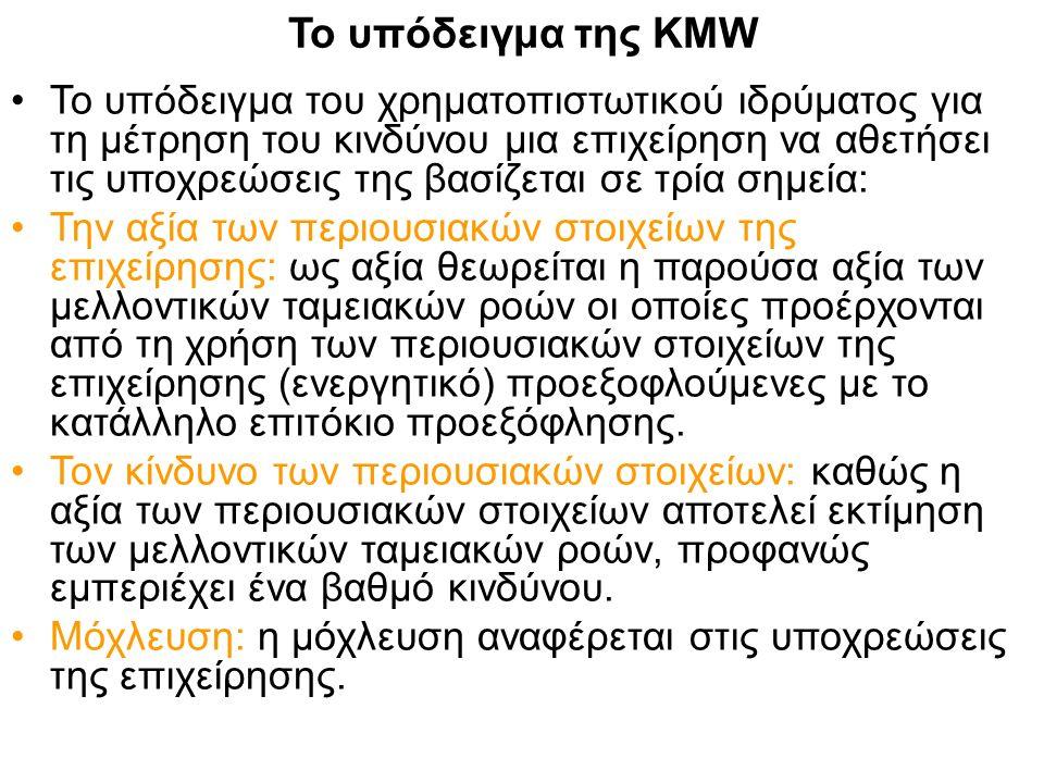 Το υπόδειγμα της KMW Το υπόδειγμα του χρηματοπιστωτικού ιδρύματος για τη μέτρηση του κινδύνου μια επιχείρηση να αθετήσει τις υποχρεώσεις της βασίζεται σε τρία σημεία: Την αξία των περιουσιακών στοιχείων της επιχείρησης: ως αξία θεωρείται η παρούσα αξία των μελλοντικών ταμειακών ροών οι οποίες προέρχονται από τη χρήση των περιουσιακών στοιχείων της επιχείρησης (ενεργητικό) προεξοφλούμενες με το κατάλληλο επιτόκιο προεξόφλησης.
