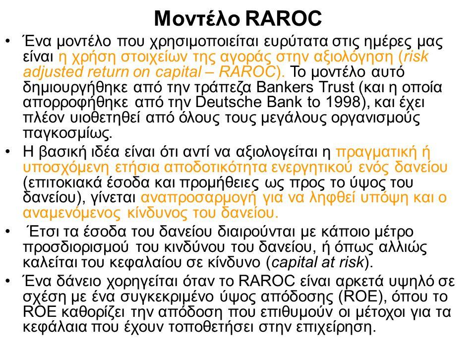 Μοντέλο RAROC Ένα μοντέλο που χρησιμοποιείται ευρύτατα στις ημέρες μας είναι η χρήση στοιχείων της αγοράς στην αξιολόγηση (risk adjusted return on capital – RAROC).
