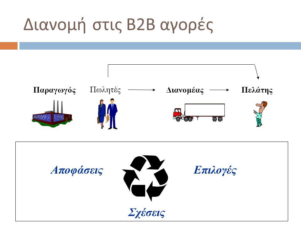 Αποφάσεις  Άμεση διανομή : αν θα αναλάβει πλήρως την πώληση και διανομή των προϊόντων του ο ίδιος  Έμμεση διανομή : αν θα χρησιμοποιήσει σε κάποιο βαθμό μεταπωλητές  Εύρος, μήκος  Είδος των ενδιαμέσων ( αντιπρόσωποι, μεσίτες, μεταπωλητές ) και τους όρους συνεργασίας μαζί τους,  Αριθμό και γεωγραφική κατανομή ( ένταση ) Εντατική Επιλεκτική ( εκλεκτική ) Αποκλειστική  Ρόλοι και αρμοδιότητες  Βαθμός εξειδίκευσης των μεταπωλητών