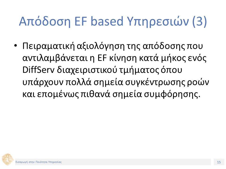 15 Εισαγωγή στην Ποιότητα Υπηρεσίας Απόδοση EF based Υπηρεσιών (3) Πειραματική αξιολόγηση της απόδοσης που αντιλαμβάνεται η EF κίνηση κατά μήκος ενός DiffServ διαχειριστικού τμήματος όπου υπάρχουν πολλά σημεία συγκέντρωσης ροών και επομένως πιθανά σημεία συμφόρησης.