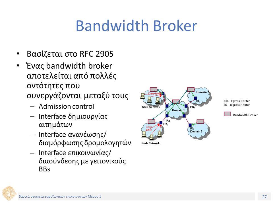 27 Βασικά στοιχεία ευρυζωνικών επικοινωνιών Μέρος 1 Bandwidth Broker Βασίζεται στο RFC 2905 Ένας bandwidth broker αποτελείται από πολλές οντότητες που συνεργάζονται μεταξύ τους – Admission control – Interface δημιουργίας αιτημάτων – Interface ανανέωσης/ διαμόρφωσης δρομολογητών – Interface επικοινωνίας/ διασύνδεσης με γειτονικούς BBs