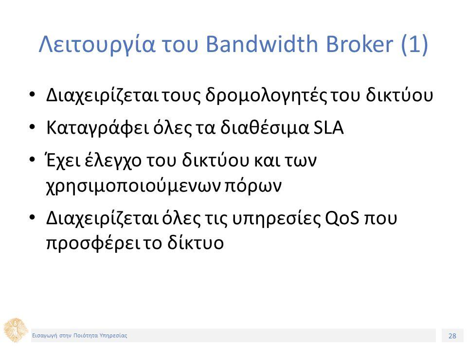 28 Εισαγωγή στην Ποιότητα Υπηρεσίας Λειτουργία του Bandwidth Broker (1) Διαχειρίζεται τους δρομολογητές του δικτύου Καταγράφει όλες τα διαθέσιμα SLA Έχει έλεγχο του δικτύου και των χρησιμοποιούμενων πόρων Διαχειρίζεται όλες τις υπηρεσίες QoS που προσφέρει το δίκτυο