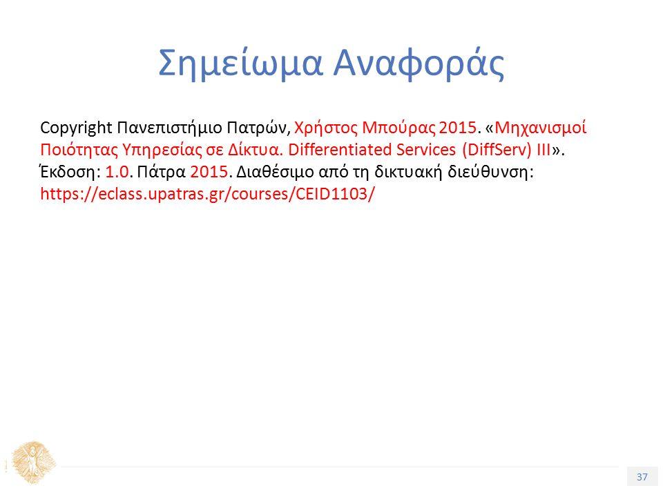 37 Εισαγωγή στην Ποιότητα Υπηρεσίας Σημείωμα Αναφοράς Copyright Πανεπιστήμιο Πατρών, Χρήστος Μπούρας 2015.