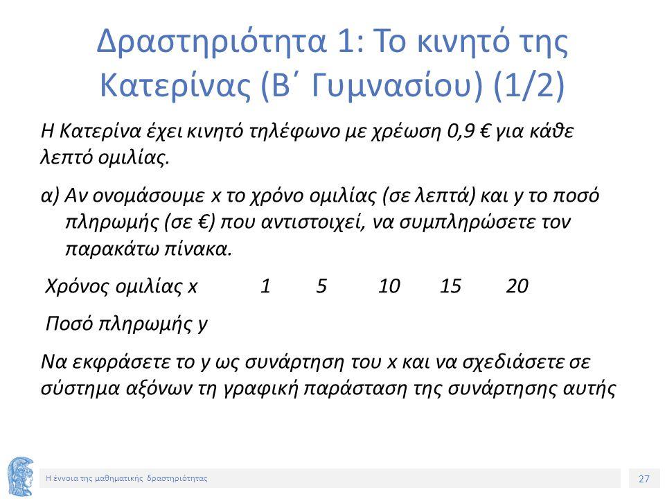 27 Η έννοια της μαθηματικής δραστηριότητας Δραστηριότητα 1: Το κινητό της Κατερίνας (Β΄ Γυμνασίου) (1/2) Η Κατερίνα έχει κινητό τηλέφωνο με χρέωση 0,9 € για κάθε λεπτό ομιλίας.