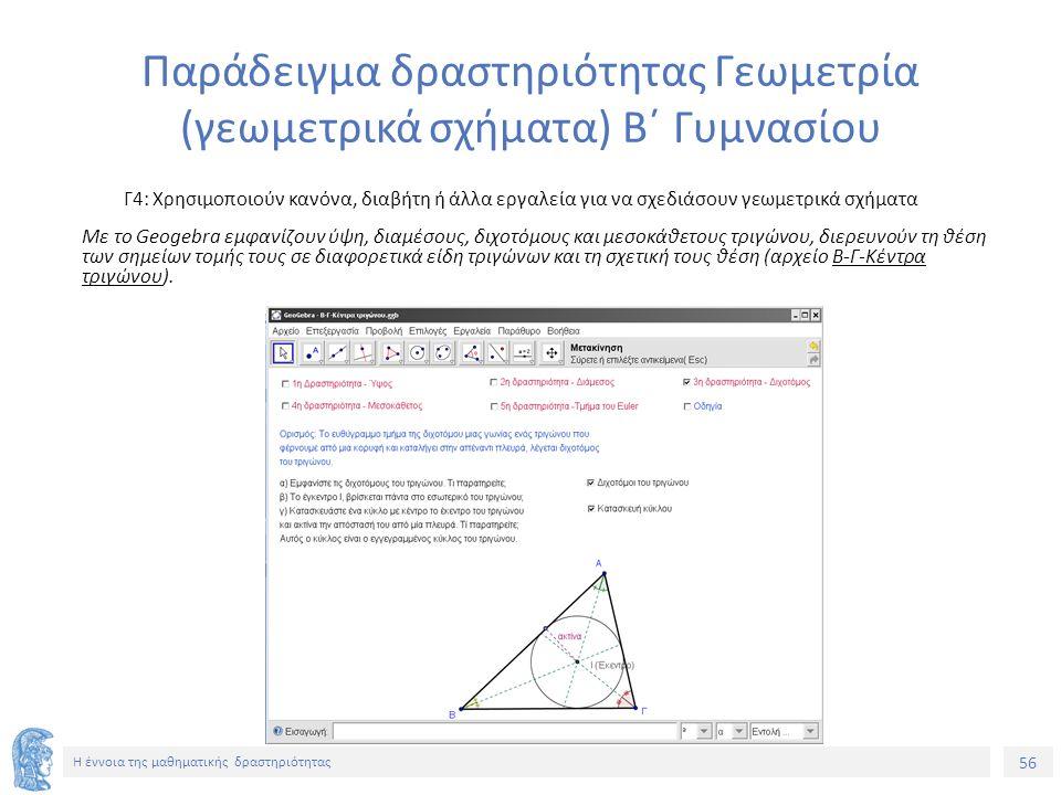 56 Η έννοια της μαθηματικής δραστηριότητας Παράδειγμα δραστηριότητας Γεωμετρία (γεωμετρικά σχήματα) Β΄ Γυμνασίου Γ4: Χρησιμοποιούν κανόνα, διαβήτη ή άλλα εργαλεία για να σχεδιάσουν γεωμετρικά σχήματα Με το Geogebra εμφανίζουν ύψη, διαμέσους, διχοτόμους και μεσοκάθετους τριγώνου, διερευνούν τη θέση των σημείων τομής τους σε διαφορετικά είδη τριγώνων και τη σχετική τους θέση (αρχείο Β-Γ-Κέντρα τριγώνου).