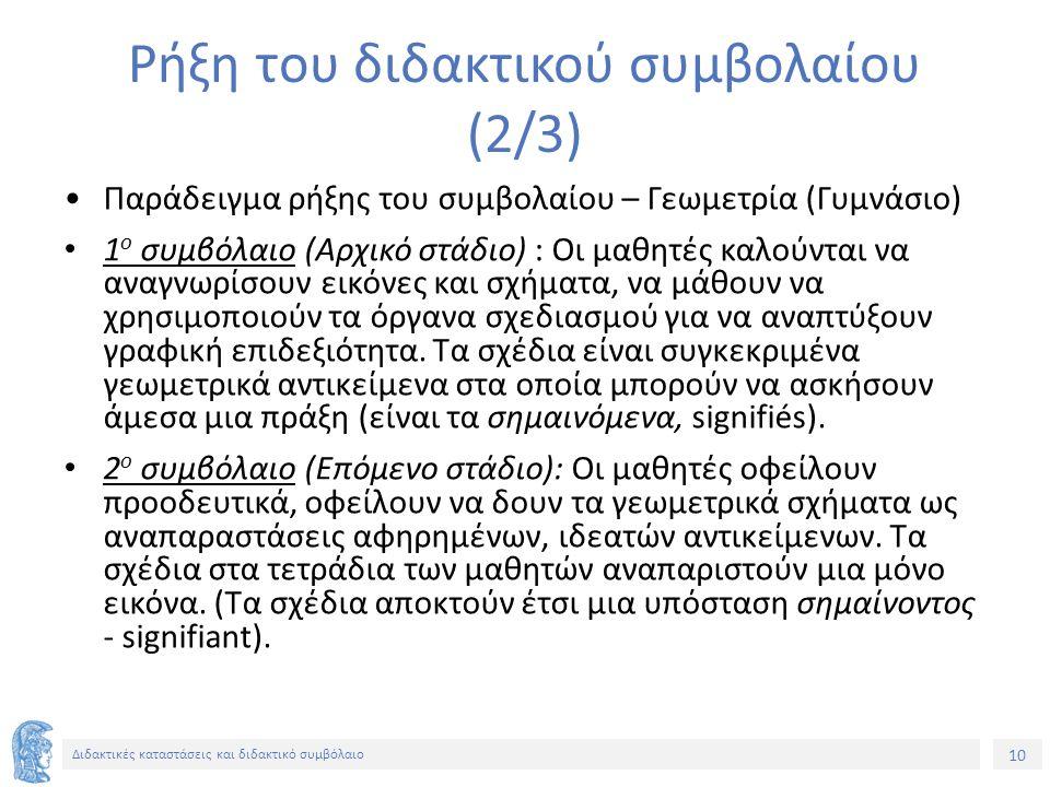10 Διδακτικές καταστάσεις και διδακτικό συμβόλαιο Ρήξη του διδακτικού συμβολαίου (2/3) Παράδειγμα ρήξης του συμβολαίου – Γεωμετρία (Γυμνάσιο) 1 ο συμβ