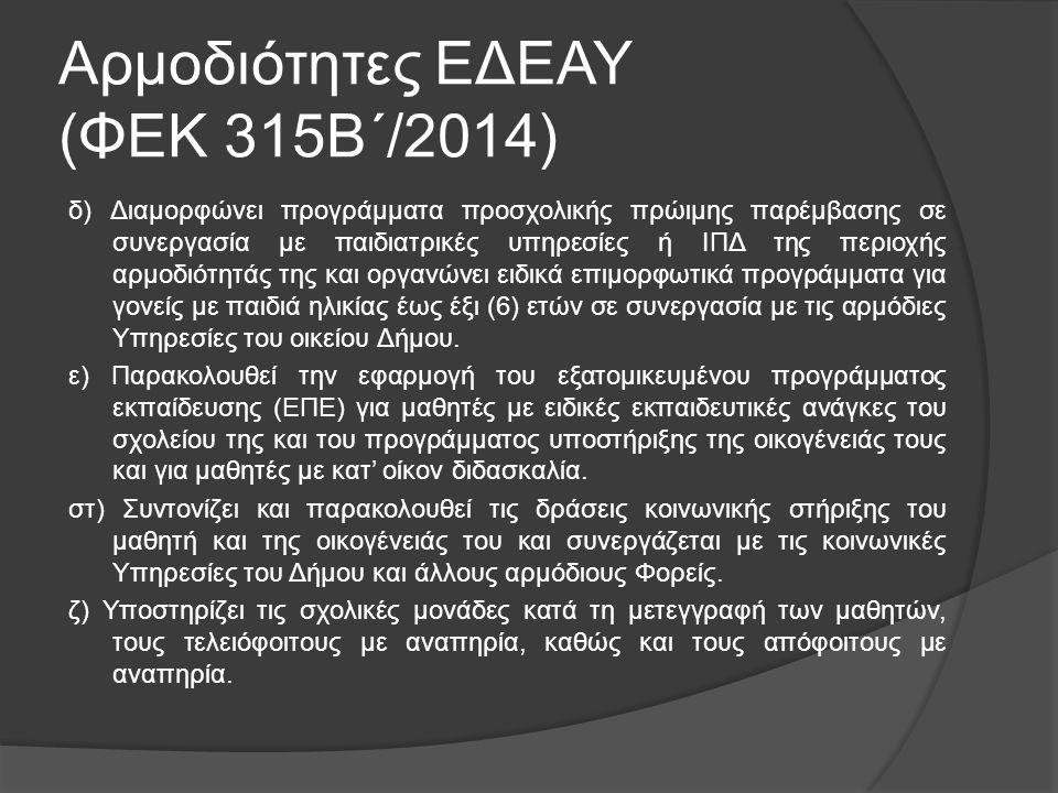 Αρμοδιότητες ΕΔΕΑΥ (ΦΕΚ 315Β΄/2014) δ) Διαμορφώνει προγράμματα προσχολικής πρώιμης παρέμβασης σε συνεργασία με παιδιατρικές υπηρεσίες ή ΙΠΔ της περιοχ