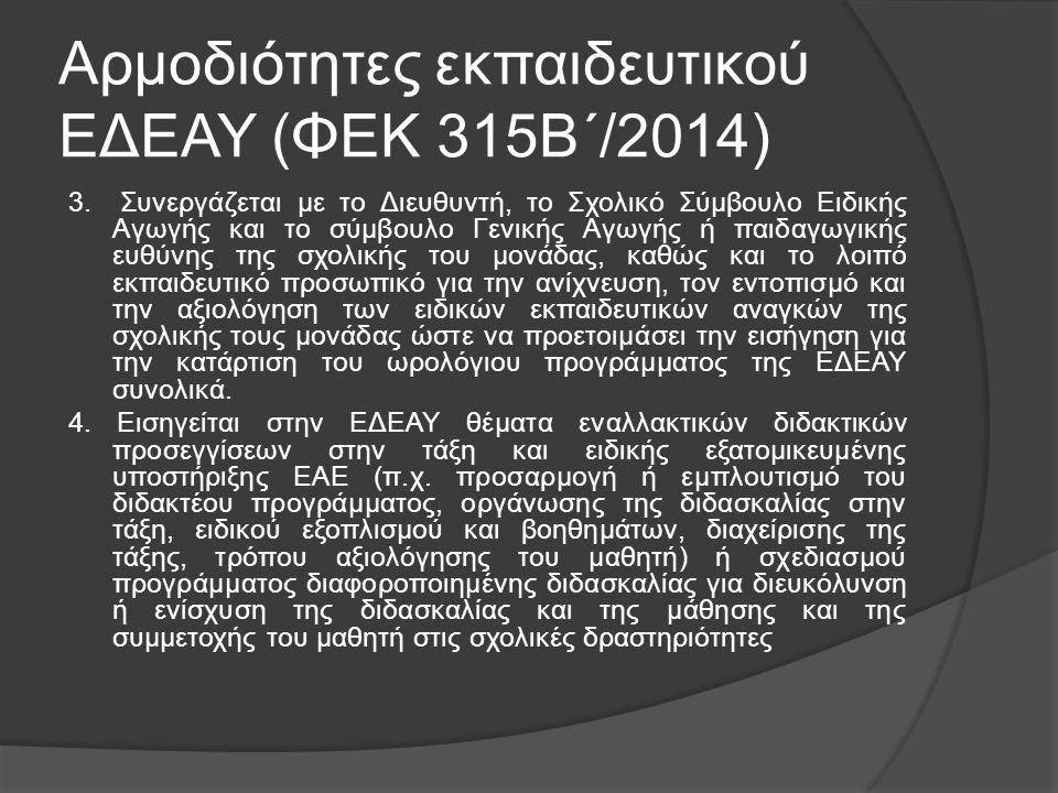 Αρμοδιότητες εκπαιδευτικού ΕΔΕΑΥ (ΦΕΚ 315Β΄/2014) 3. Συνεργάζεται με το Διευθυντή, το Σχολικό Σύμβουλο Ειδικής Αγωγής και το σύμβουλο Γενικής Αγωγής ή