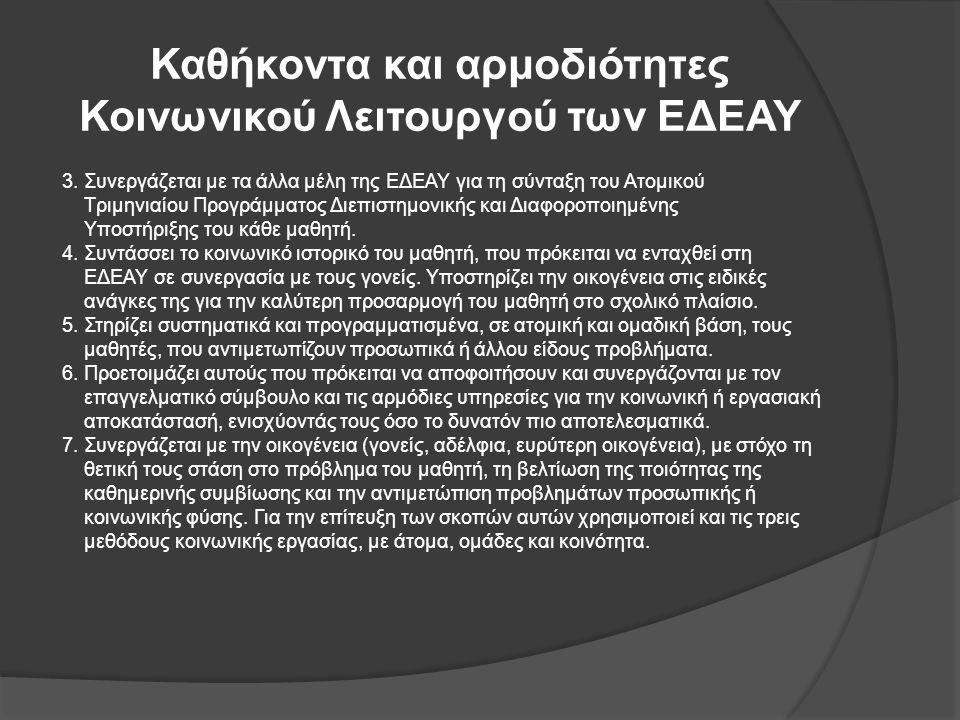 Καθήκοντα και αρμοδιότητες Κοινωνικού Λειτουργού των ΕΔΕΑΥ 3. Συνεργάζεται με τα άλλα μέλη της ΕΔΕΑΥ για τη σύνταξη του Ατομικού Τριμηνιαίου Προγράμμα
