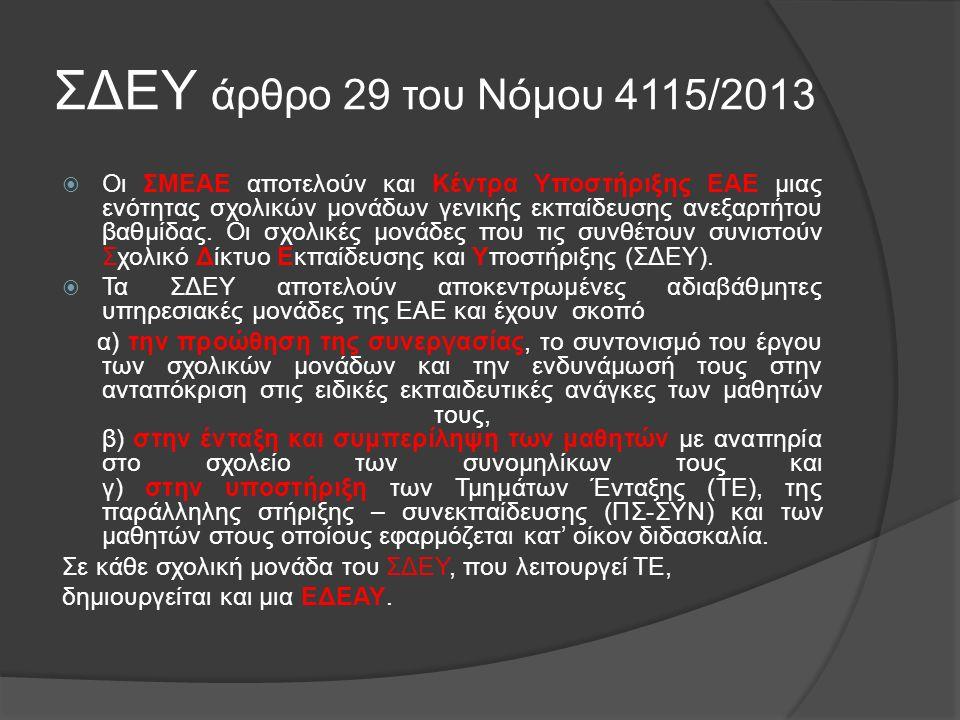 ΣΔΕΥ άρθρο 29 του Νόμου 4115/2013  Οι ΣΜΕΑΕ αποτελούν και Κέντρα Υποστήριξης ΕΑΕ μιας ενότητας σχολικών μονάδων γενικής εκπαίδευσης ανεξαρτήτου βαθμίδας.