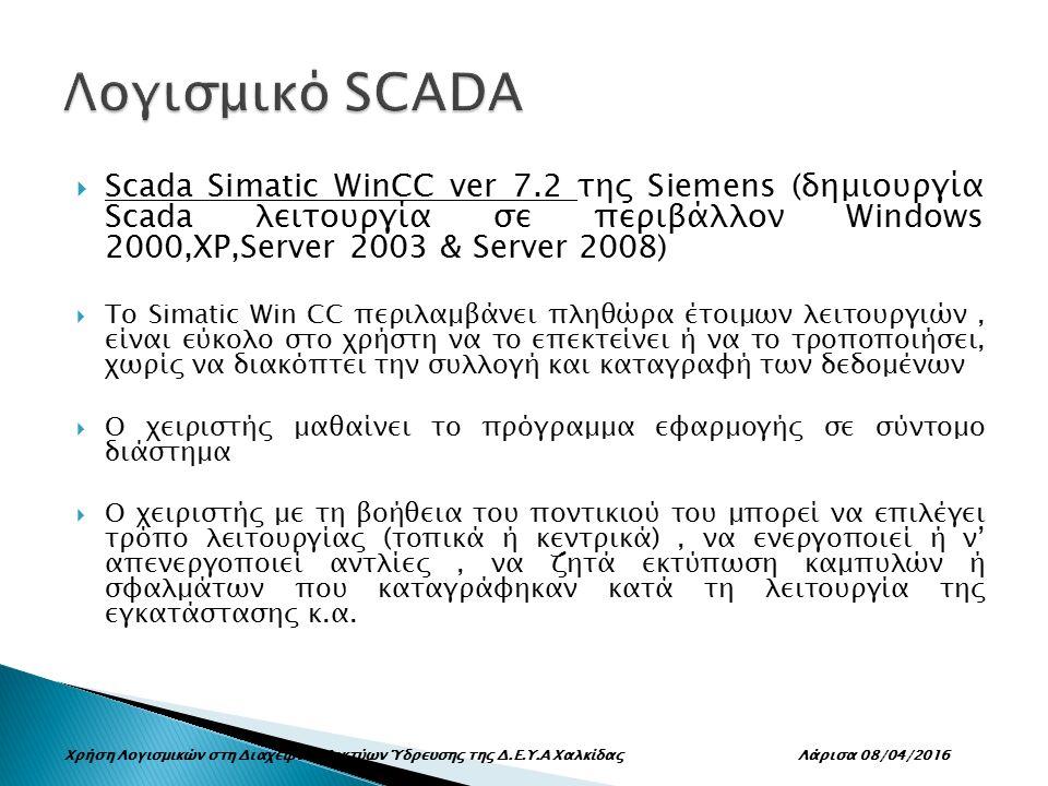  Scada Simatic WinCC ver 7.2 της Siemens (δημιουργία Scada λειτουργία σε περιβάλλον Windows 2000,XP,Server 2003 & Server 2008)  Το Simatic Win CC περιλαμβάνει πληθώρα έτοιμων λειτουργιών, είναι εύκολο στο χρήστη να το επεκτείνει ή να το τροποποιήσει, χωρίς να διακόπτει την συλλογή και καταγραφή των δεδομένων  Ο χειριστής μαθαίνει το πρόγραμμα εφαρμογής σε σύντομο διάστημα  Ο χειριστής με τη βοήθεια του ποντικιού του μπορεί να επιλέγει τρόπο λειτουργίας (τοπικά ή κεντρικά), να ενεργοποιεί ή ν' απενεργοποιεί αντλίες, να ζητά εκτύπωση καμπυλών ή σφαλμάτων που καταγράφηκαν κατά τη λειτουργία της εγκατάστασης κ.α.