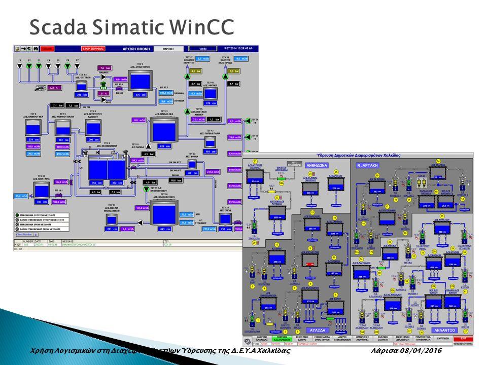 Scada Simatic WinCC Χρήση Λογισμικών στη Διαχείριση Δικτύων Ύδρευσης της Δ.Ε.Υ.Α Χαλκίδας Λάρισα 08/04/2016