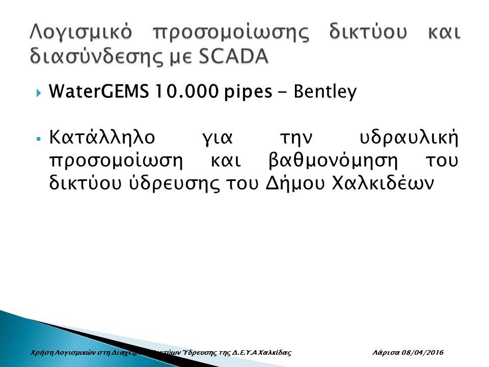  WaterGEMS 10.000 pipes - Bentley  Κατάλληλο για την υδραυλική προσομοίωση και βαθμονόμηση του δικτύου ύδρευσης του Δήμου Χαλκιδέων Χρήση Λογισμικών στη Διαχείριση Δικτύων Ύδρευσης της Δ.Ε.Υ.Α Χαλκίδας Λάρισα 08/04/2016