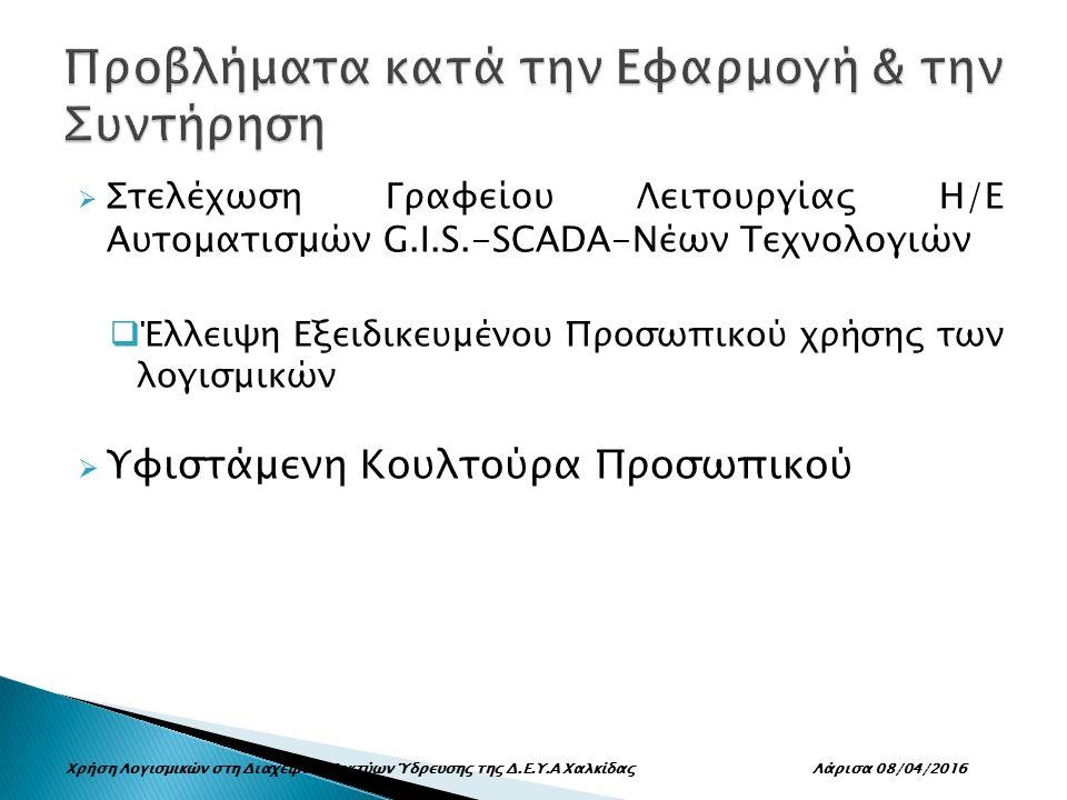  Στελέχωση Γραφείου Λειτουργίας Η/Ε Αυτοματισμών G.I.S.-SCADA-Νέων Τεχνολογιών  Έλλειψη Εξειδικευμένου Προσωπικού χρήσης των λογισμικών  Υφιστάμενη Κουλτούρα Προσωπικού Χρήση Λογισμικών στη Διαχείριση Δικτύων Ύδρευσης της Δ.Ε.Υ.Α Χαλκίδας Λάρισα 08/04/2016