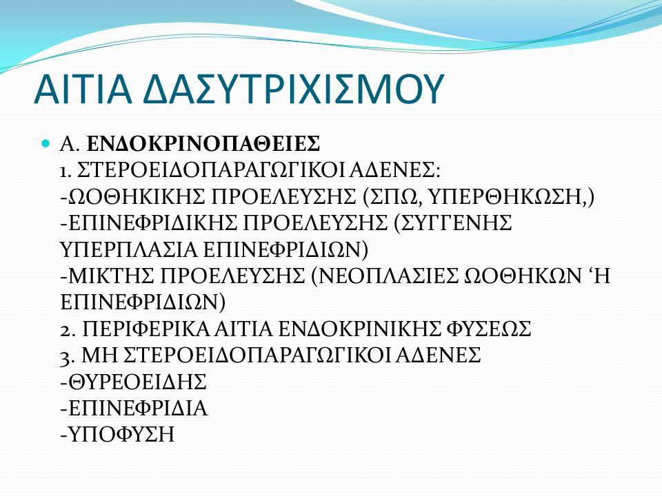 ΑΙΤΙΑ ΔΑΣΥΤΡΙΧΙΣΜΟΥ Α. ΕΝΔΟΚΡΙΝΟΠΑΘΕΙΕΣ 1.