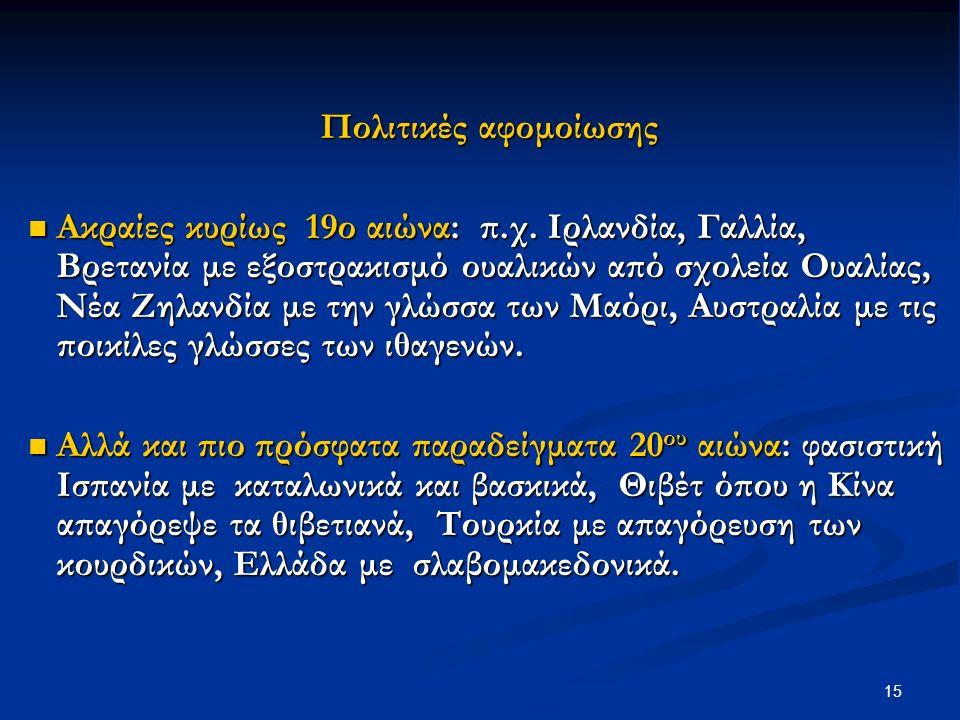 15 Πολιτικές αφομοίωσης Ακραίες κυρίως 19ο αιώνα: π.χ.