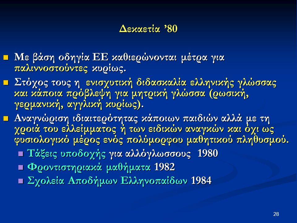 28 Δεκαετία '80 Με βάση οδηγία ΕΕ καθιερώνονται μέτρα για παλιννοστούντες κυρίως.