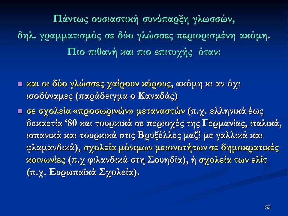 53 Πάντως ουσιαστική συνύπαρξη γλωσσών, δηλ. γραμματισμός σε δύο γλώσσες περιορισμένη ακόμη.
