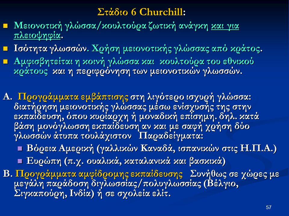 57 Στάδιο 6 Churchill: Μειονοτική γλώσσα/κουλτούρα ζωτική ανάγκη και για πλειοψηφία.