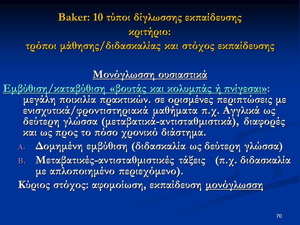 70 Βaker: 10 τύποι δίγλωσσης εκπαίδευσης κριτήριο: τρόποι μάθησης/διδασκαλίας και στόχος εκπαίδευσης Μονόγλωσση ουσιαστικά Εμβύθιση/καταβύθιση «βουτάς και κολυμπάς ή πνίγεσαι»: μεγάλη ποικιλία πρακτικών.