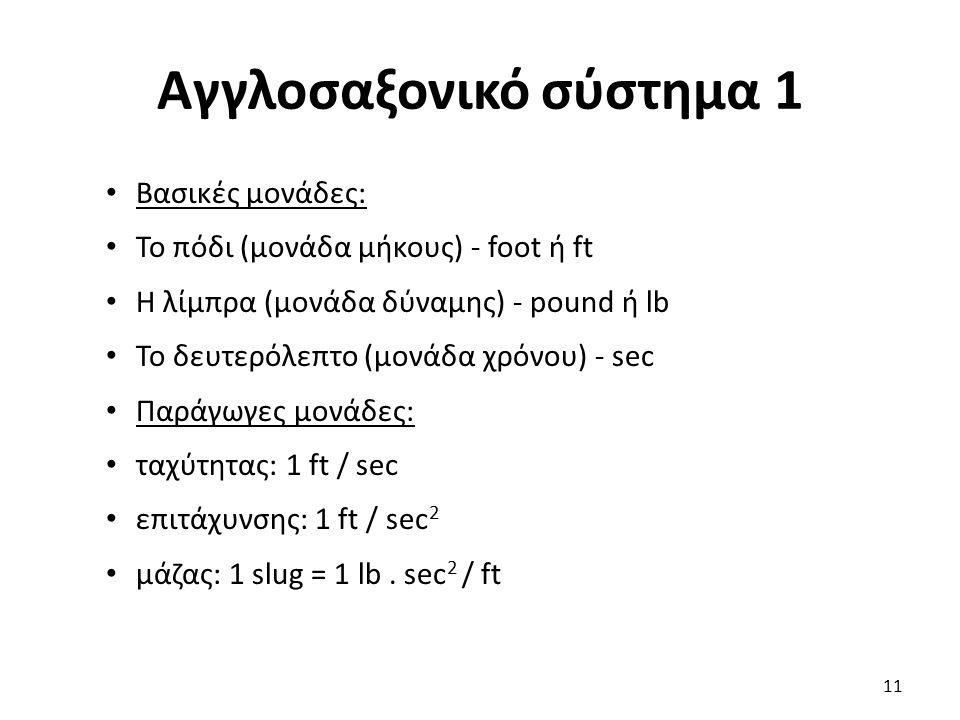 Αγγλοσαξονικό σύστημα 1 Βασικές μονάδες: Το πόδι (μονάδα μήκους) - foot ή ft Η λίμπρα (μονάδα δύναμης) - pound ή lb Το δευτερόλεπτο (μονάδα χρόνου) - sec Παράγωγες μονάδες: ταχύτητας: 1 ft / sec επιτάχυνσης: 1 ft / sec 2 μάζας: 1 slug = 1 lb.
