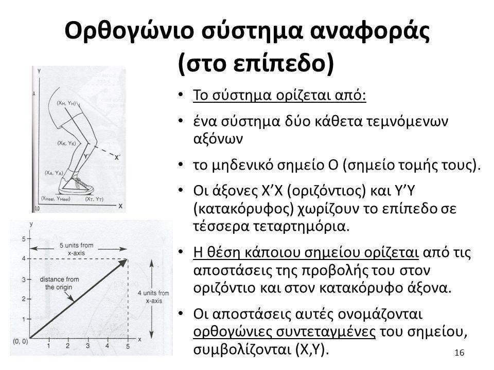 Ορθογώνιο σύστημα αναφοράς (στο επίπεδο) Το σύστημα ορίζεται από: ένα σύστημα δύο κάθετα τεμνόμενων αξόνων το μηδενικό σημείο Ο (σημείο τομής τους).