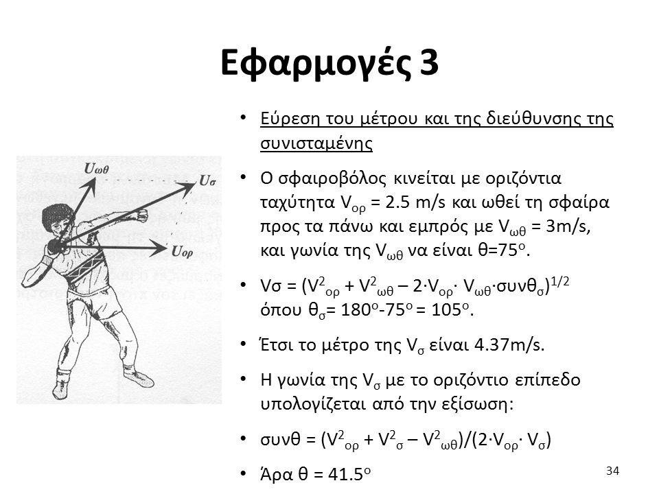 Εφαρμογές 3 Εύρεση του μέτρου και της διεύθυνσης της συνισταμένης Ο σφαιροβόλος κινείται με οριζόντια ταχύτητα V ορ = 2.5 m/s και ωθεί τη σφαίρα προς τα πάνω και εμπρός με V ωθ = 3m/s, και γωνία της V ωθ να είναι θ=75 ο.