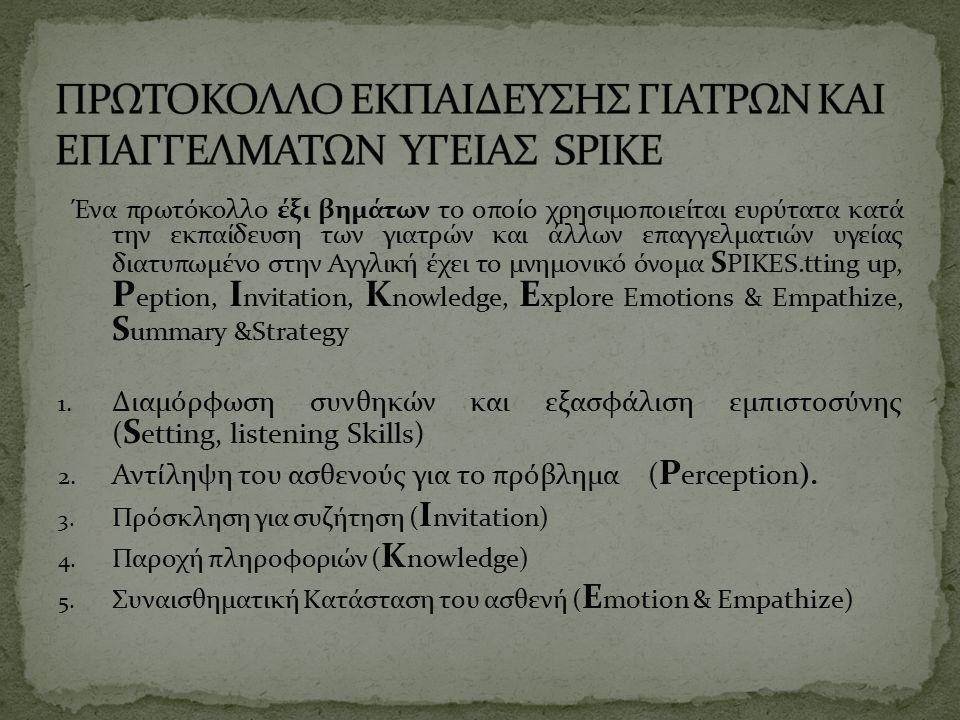 Ένα πρωτόκολλο έξι βημάτων το οποίο χρησιμοποιείται ευρύτατα κατά την εκπαίδευση των γιατρών και άλλων επαγγελματιών υγείας διατυπωμένο στην Αγγλική έχει το μνημονικό όνομα S PIKES.tting up, P eption, I nvitation, K nowledge, E xplore Emοtions & Empathize, S ummary &Strategy 1.