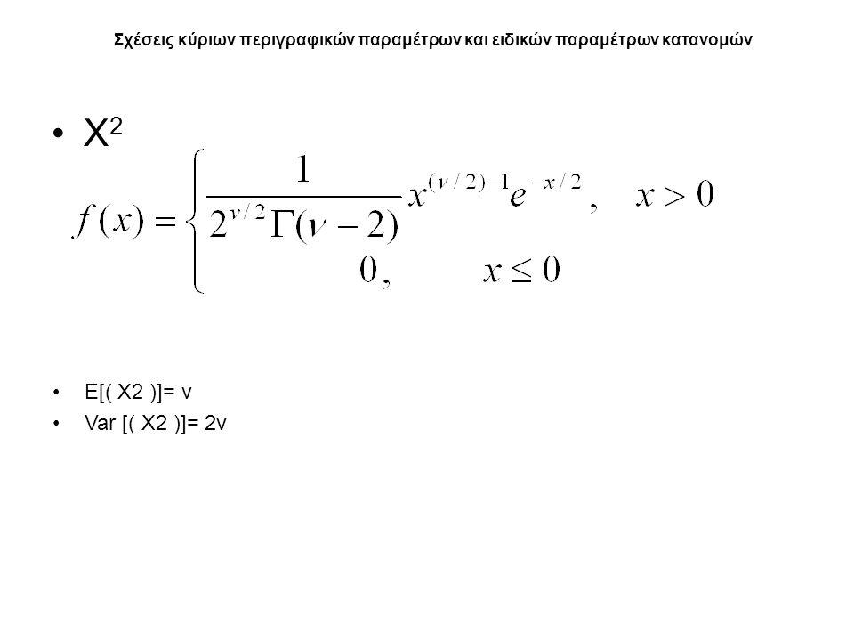 Χ 2 Σχέσεις κύριων περιγραφικών παραμέτρων και ειδικών παραμέτρων κατανομών E[( Χ2 )]= ν Var [( Χ2 )]= 2ν