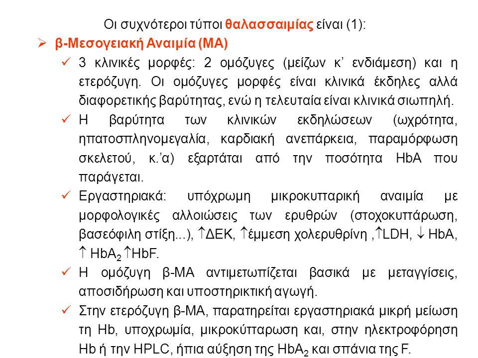 Οι συχνότεροι τύποι θαλασσαιμίας είναι (1):  β-Μεσογειακή Αναιμία (MA) 3 κλινικές μορφές: 2 ομόζυγες (μείζων κ' ενδιάμεση) και η ετερόζυγη.