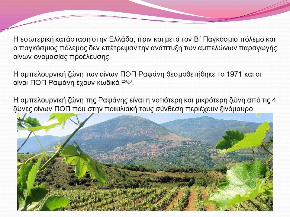 Ο αμπελώνας των οίνων ΠΟΠ Ραψάνη είναι στο βορειοανατολικό τμήμα της Θεσσαλίας και της Λάρισας, σε έκταση 1700στρ περίπου και σε υψόμετρα από 150μ έως 750μ.